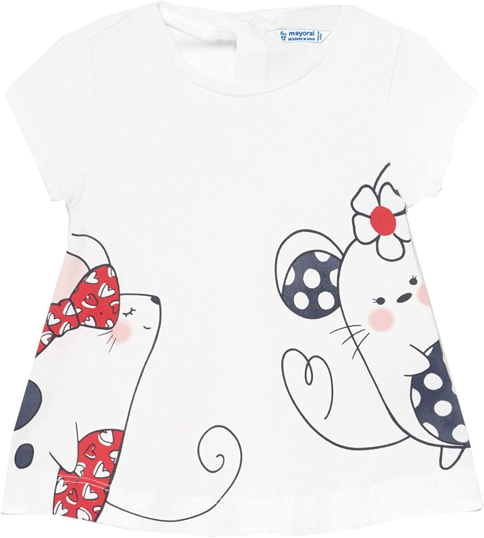 T-Shirt Kurzarm f/ür Baby Weiss M/ädchen 1088 Mayoral