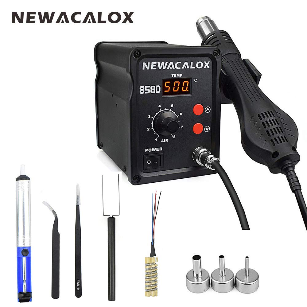 500°C Soldering Hot Air Rework Station Thermoregul LED Heat Gun Blow Dryer for BGA IC Desoldering Tool 858D 700W 110V by NEWACALOX (Image #1)