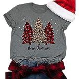 GHdggk Womens Cute Christmas Tree Graphic T Shirts Summer Short Sleeve Tops Tees