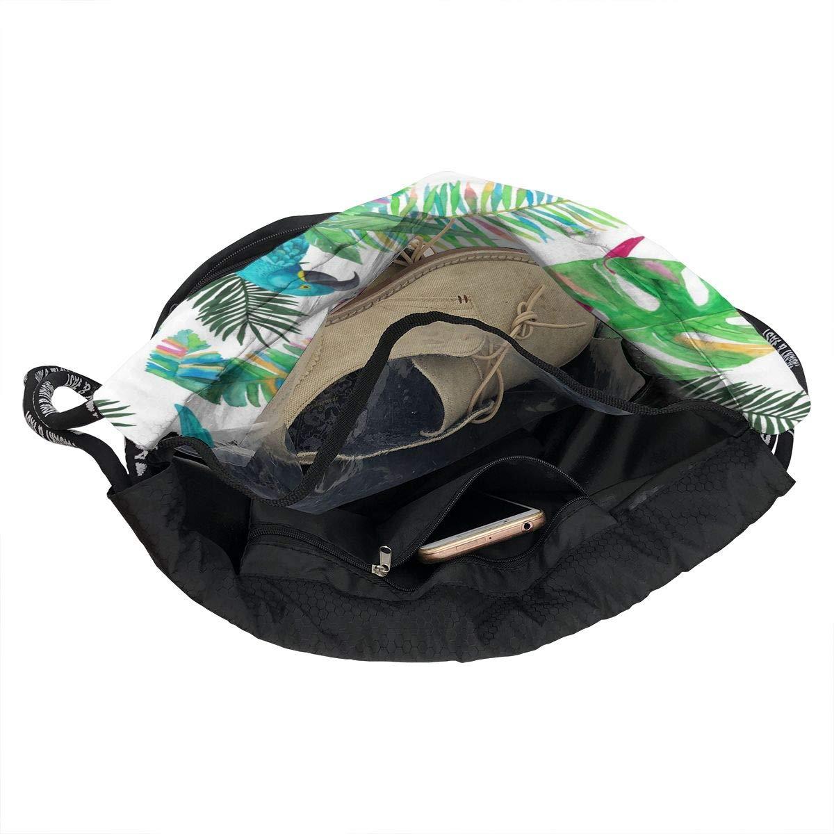 Lightweight Waterproof Large Storage Drawstring Bag For Men /& Women Parrot And Plant Cinch Backpack Sackpack Tote Sack