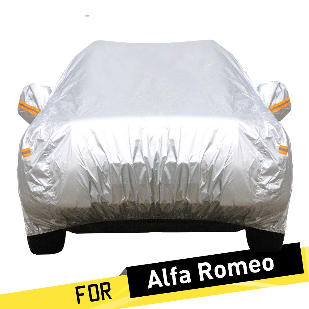 ERQINGCZ Wasserdichte Autoabdeckung Auto Abdeckung Auto Anti Uv Sonne Schnee Regen Schutz Abdeckung Sonnenschirm Für Alfa Romeo