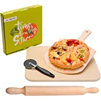 LAOYE Pizzastein für Gasgrill & Backofen, 4 in 1 Pizzastein Set inkl. Pizzaschieber + Pizza Stein + Pizzaschaufel + Nudelholz, Pizza Stone XXL 38cm, rechteckig, zur Pizza Brot Gebäck Kuchen