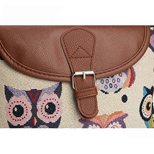 En Cosanter Lady's En Sac A Jacquard Owl De Style ÉPaule PortÉ Toile qrrt1