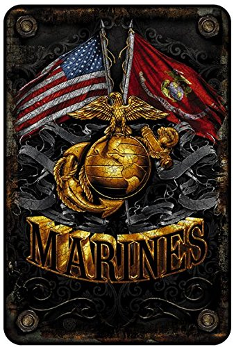 Marine Corps Wall Décor Signs, USMC Metal Sign (Double Flag Gold Globe) USMC Parking Sign & Marine Corps Man Cave Décor- 8x12 Metal Wall Art Décor - Marine Corps Gifts for Men or Women, Metal Bar Sign