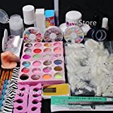 Ships From CA, USA Professional 25 in 1 Full Acrylic Nail Art Tips Set Acrylic Glitter Powder Dust Liquid Primer Brush Glue Buffer Block Sanding Files Rhinestones Pearl Decorations Tools Kits #13
