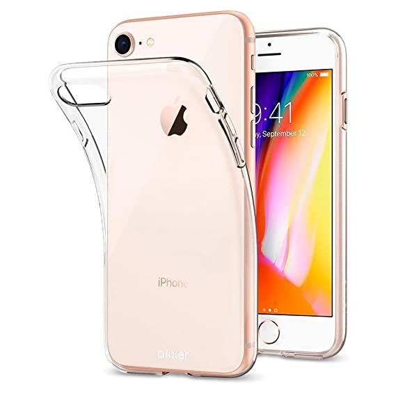 online retailer c109d 8bd07 Amazon.com: Olixar iPhone 8 Clear Case - Slim Soft Gel Cover - Ultra ...