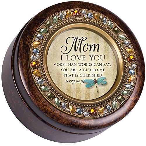 Music Box Mom - Cottage Garden Mom Love You Cherished Gift Amber Earth Tone Jewelry Music Box Plays Wind Beneath My Wings