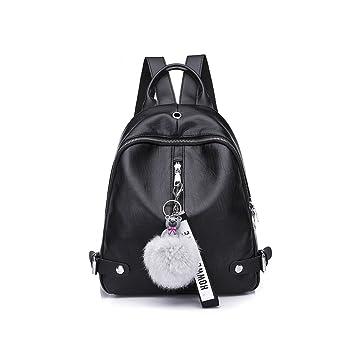 Oudan Mochila para mujer Ocio cuero Retro Mini bolso desgastado espalda impermeable mochila mochila con adorno (Color : Negro, tamaño : Un tamaño): ...