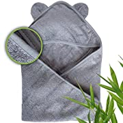 Moon and Baby Hooded Bath Towel, Crafted from Naturally Soft Organic Bamboo for Sensitive Skin (All Gray)