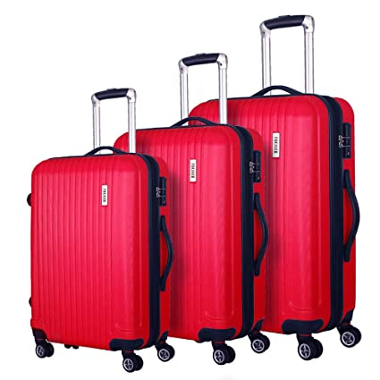 "139b352a40c5 Coomee Luggage 3 Piece set, Expandable Suitcase with TSA Lock, ABS Spinner  Hardshell lightweight (20""/24""/28""), Red"