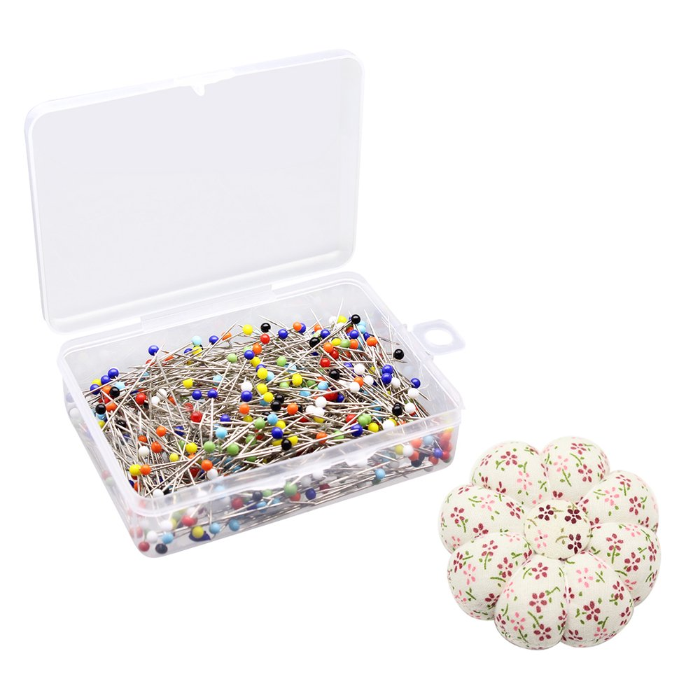 Dreamtop 500pcs 38mm Multicolor Glass Head Pins Sewing Pins Straight Pins for Jewelry Wedding Dressmaking Components Flower Decoration with Pincushion
