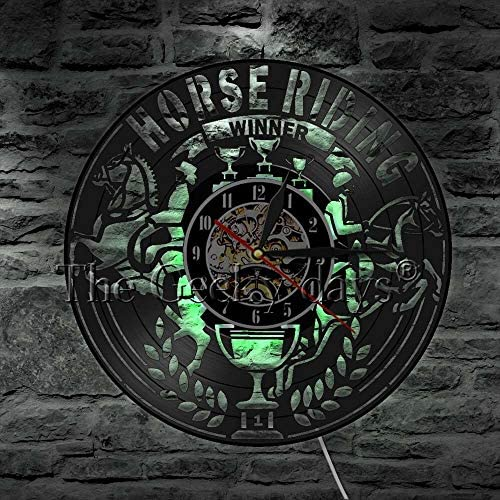 Rodeo Riding Cowboy Retro Vinyl Record Clock Equestrian Sport Decoration Watch Riding Race Winner Gift: Amazon.es: Iluminación