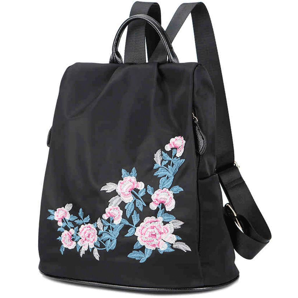Color : Black SLH Backpack Female Wild Anti-Theft National Canvas Embroidery Travel Bag Travel Light Backpack