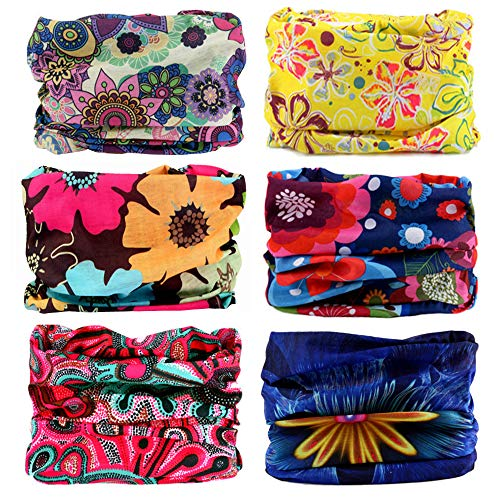 SUNTER Multifunctional Magic Headbands UV Resistence Bandana Outdoor Scarf Sports Headwear Sweatband 9PCS & 6PCS (Flowers)