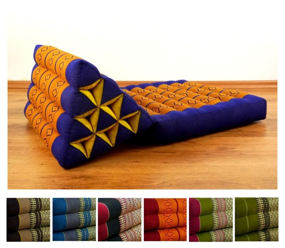 Asia Wohnstudio Foldable Thai Mat With Xxl Jumbo Triangle Cushion / Headrest & 100% Kapok Filling (Blue Yellow) Yellow