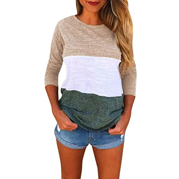 Cinnamou Blusas y Camisas Mangas largas de Mujeres, Parche Color Blusa con Cuello EN O con Largo Mangas Camisetas y Tops Casual Para Mujuers: Amazon.es: ...