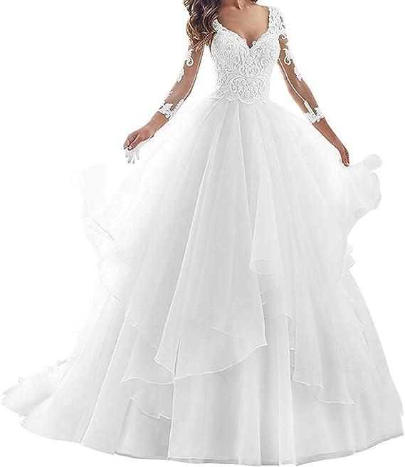 iluckin Bohemian Una linea di abiti da sposa in pizzo per le donne sposa  9 con maniche lunghe scollo a V abito da sposa