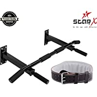 Star X Fitness Combo of Wallmount Chinup Bar with Weight Lifting Gym Belt Large Size