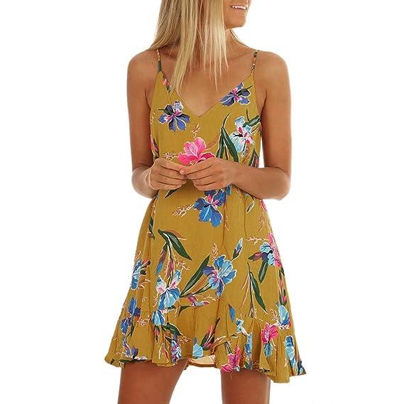 64cbee6fbd73 Summer Kleider FORH Damen Sexy V Ausschnitt Träger Sommerkleider Elegant  Blumen Drucken Partykleid Abendkleider Casual Strandkleid