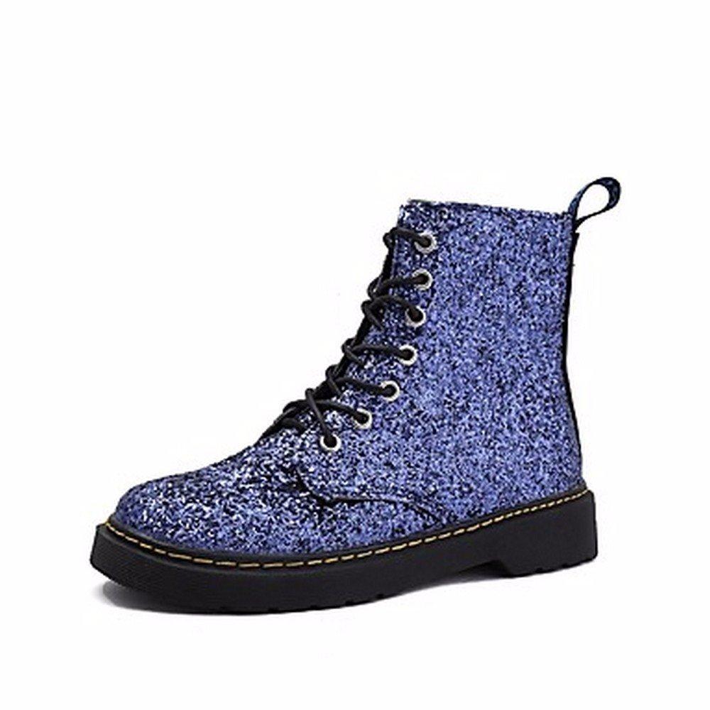 ZHUDJ Damenschuhe Paillette Fallen Snow Stiefel Flachem Absatz Round Toe Lace-Up Für Casual Blau Schwarz Blau