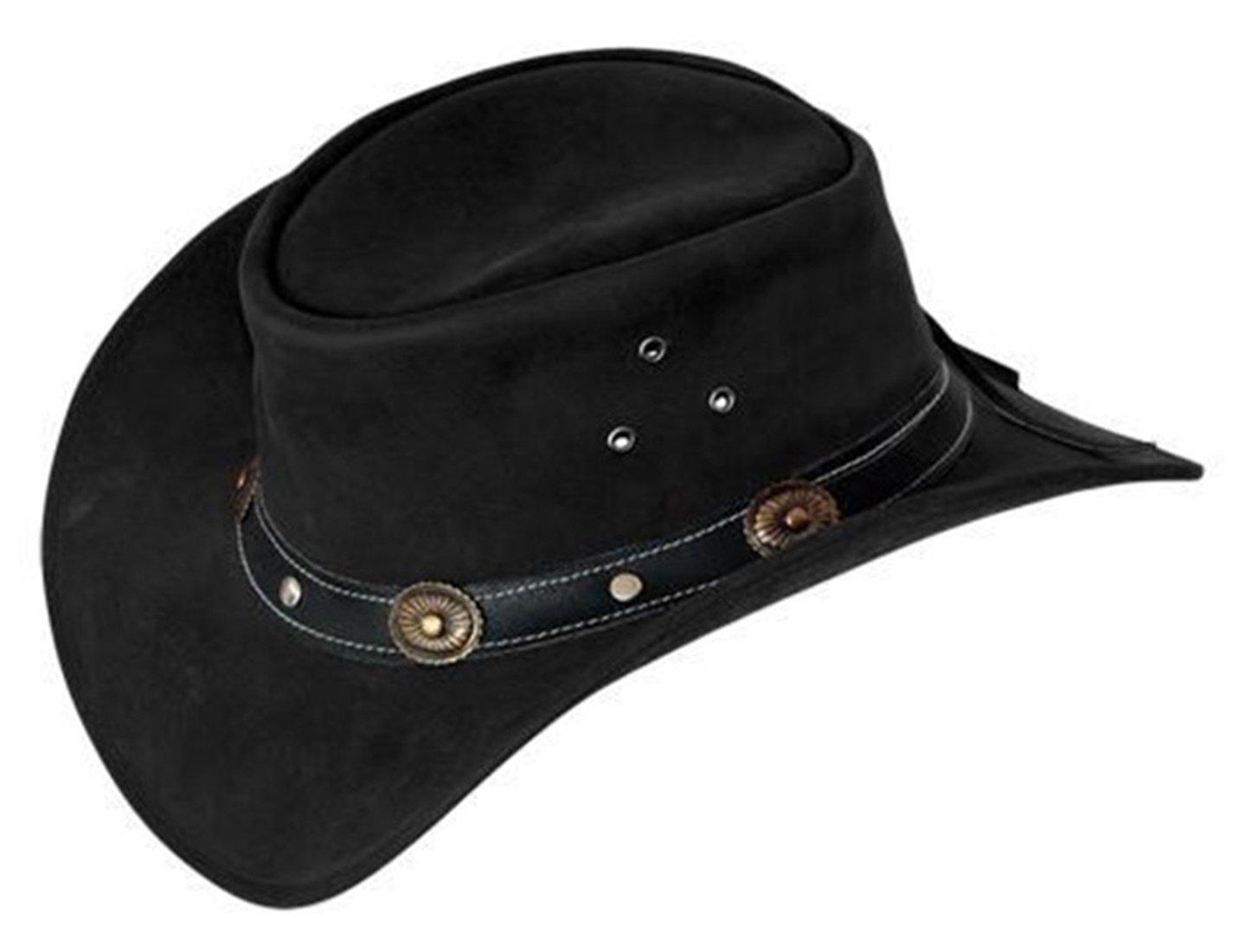 Scippis Rugged Earth - Cappello in cuoio da cowboy, con strisce in sughero e fascia in pelle, colore nero