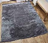 Cheap Shag Shaggy Fluffy Furry Fuzzy Soft Modern Contemporary Decorative Designer Thick plush Soft Pile Living Room Bedroom Area Rug Carpet 8×10 Charcoal Gray Grey Sale ( Level Shaggy-KI 1163 SH-Charcoal )