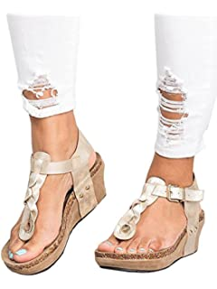 b7aae5822ccf Women Sandals Wedges Boho Braided Casual Summer T-Strap Mid Heel Wedge  Sandal Shoes