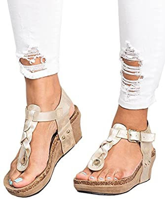 c671f827933b Amazon.com  Women Sandals Wedges Boho Braided Casual Summer T-Strap Mid  Heel Wedge Sandal Shoes  Clothing