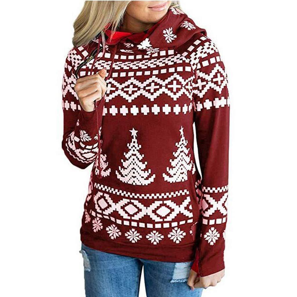Women Sweatshirts and Hoodies,Teen Girls Long Sleeve Christmas Fashion Hooded Pullover Top Hoodies Casual Blouse Sale