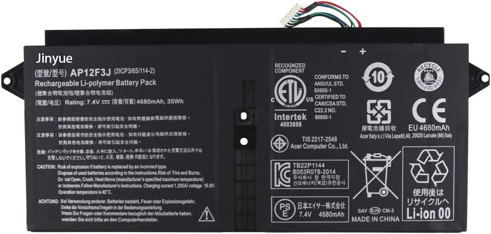 Jinyue AP12F3J Laptop Battery for Acer Aspire S7-391-53314G12aws S7-391-53314G25aws S7-391-6413 S7-391-6468 S7-391-6677 S7-391-6810 S7-391-6478 S7-391-6662 S7-391-6812 2ICP3/65/114-2 4680mAh/35Wh