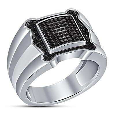9c89796fd5ac Lilu Jewels - Anillo de compromiso para hombre con diamantes de imitación  redondos brillantes  Amazon.es  Joyería