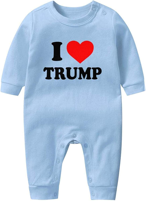smsdpmc I Love Trump Bodysuit White Newborn Infant Baby Girls Boys Long Sleeve Footed Sleep Bodysuits