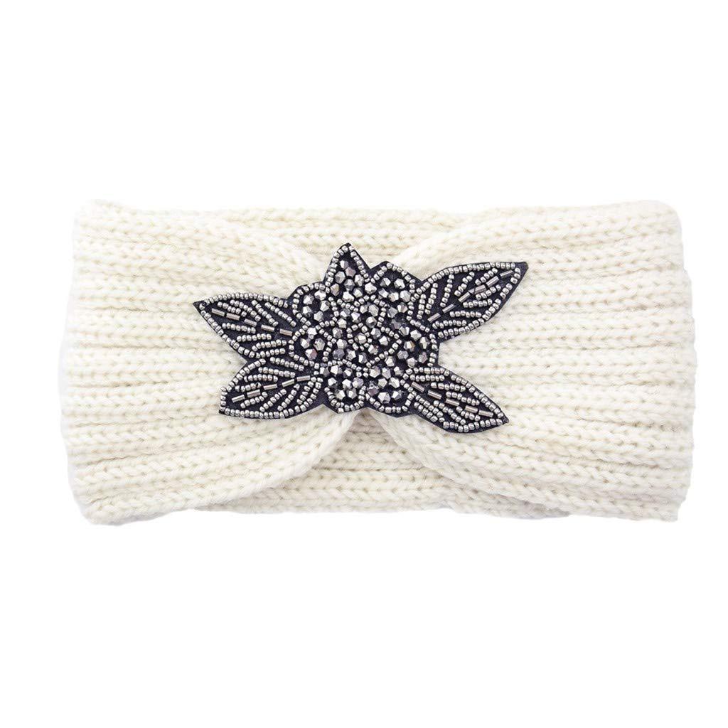NISOWE Laine /à tricoter /à la main pour femme Head Hairband Doux Hair Girls Cheveux Bandeau De Fleurs Couronne
