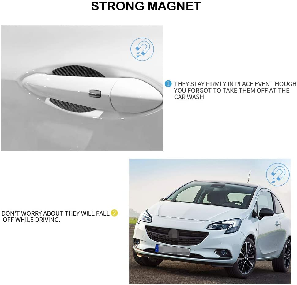 MLING 4 Pcs Magnetic Car Door Handle Insert Cover Anti Scratches Guard Paint Protector Compatible for Astra
