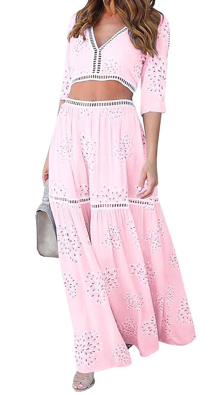 Imily Bela Women's Lace Trim Half Sleeve Tie Top and Maxi Skirt Set Maxi Dress 2 Pieces