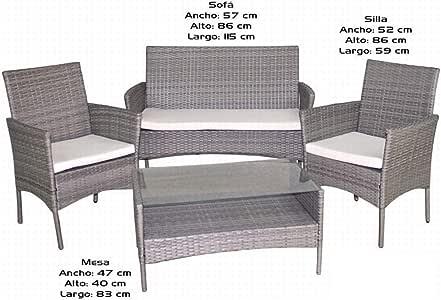 Gerimport Set de mobiliario jardín de rattán: Amazon.es: Jardín