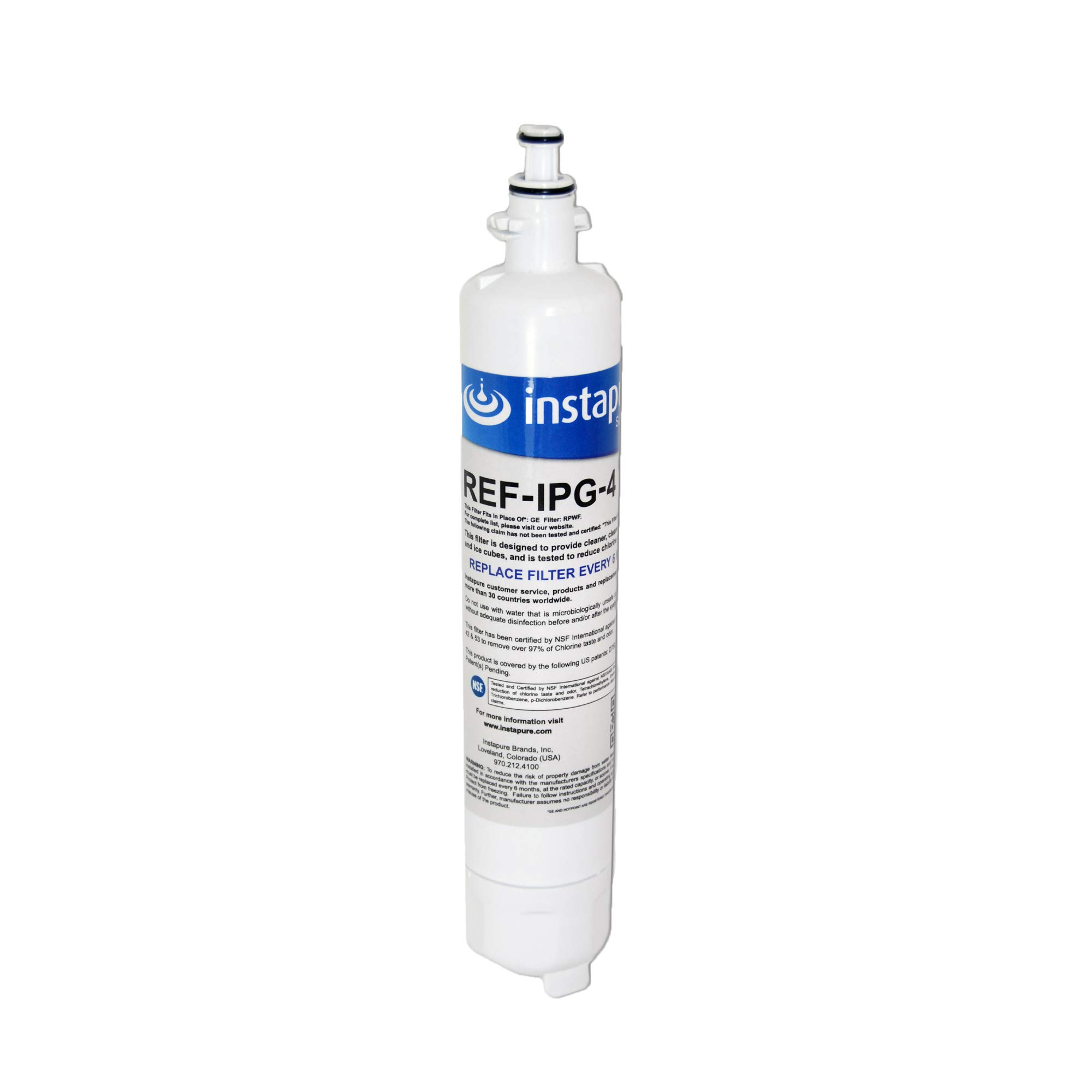 Instapure REF-IPG-4 ULTRA Refrigerator Filter, MADE IN USA, Compatible with GE RPWF, Tested & Certified by NSF to ANSI/NSF 42 & 53
