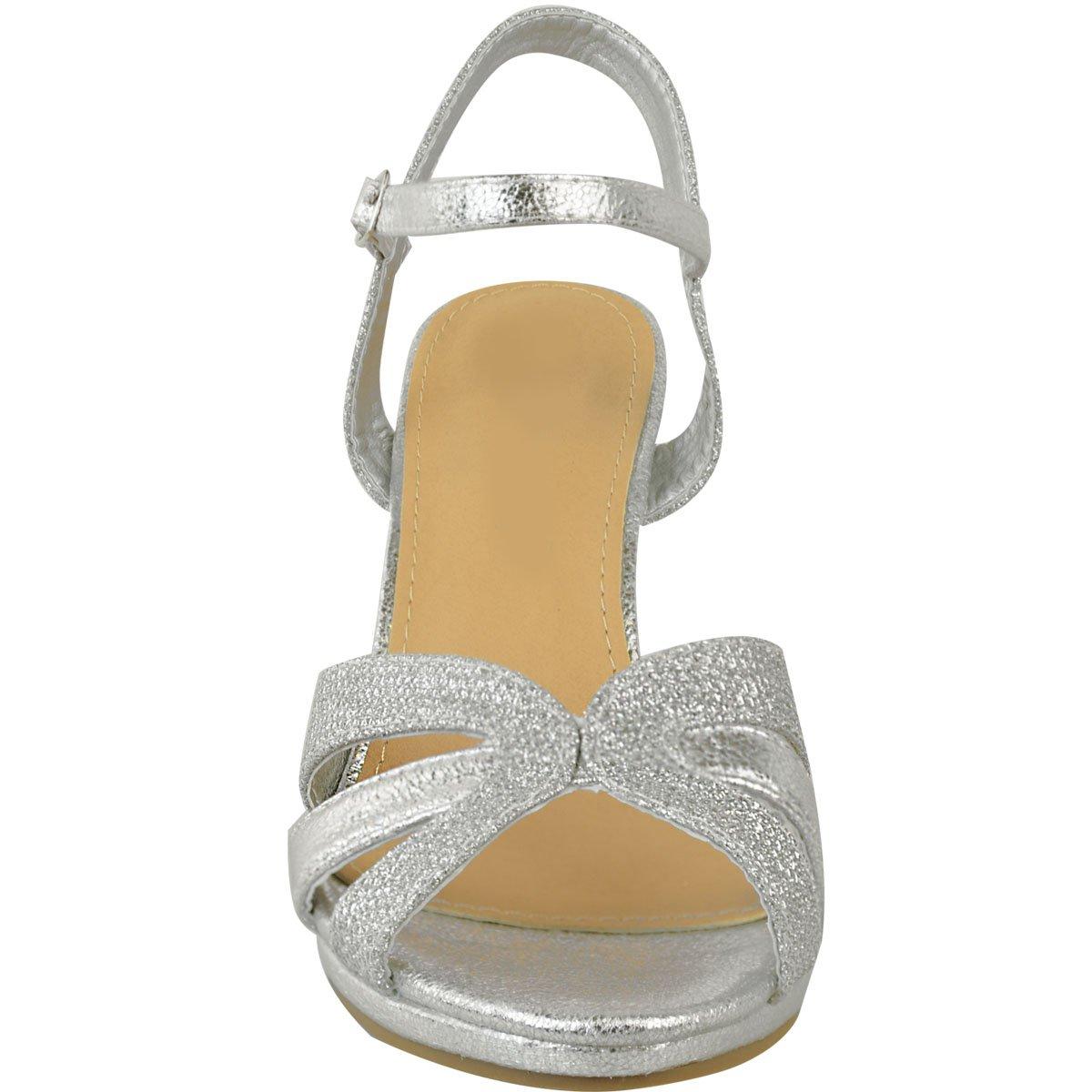 ef6c0f9257ba78 Fashion Thirsty Sandales à Lanières - Femme - Talon Large/Moyen - Paillette/ Fête/Mariée/Mariage: Amazon.fr: Chaussures et Sacs