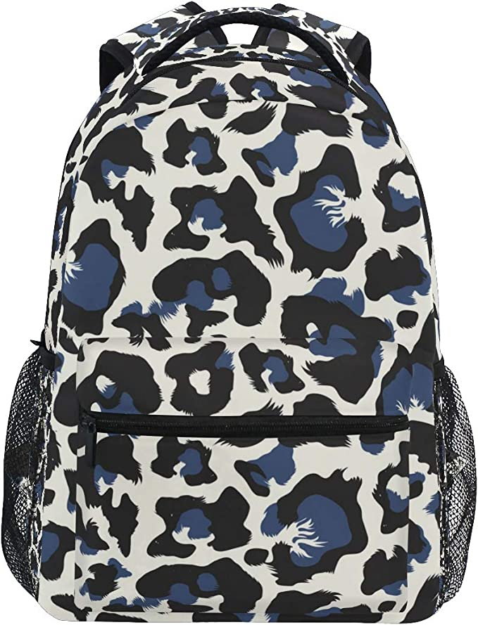 FANTAZIO Travel Laptop Backpack Gray Leopard Print Durable College School Computer Bookbag for Outdoor Camping Fits Up to Notebook