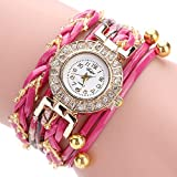 Tootu Women Fine Leather Band Winding Analog Quartz Movement Wrist Watch (Hot Pink)