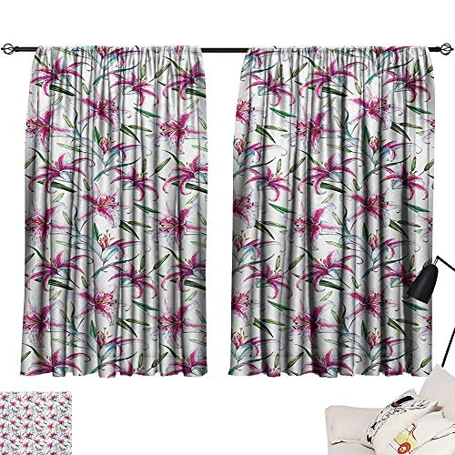 Ediyuneth Beaded Curtain Flower,Tropical Watercolors Vivid Lively Lily Flower Figures Wild Nature Plants Image,Purple Green 72
