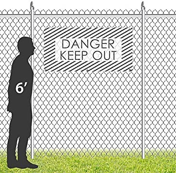 Stripes White Wind-Resistant Outdoor Mesh Vinyl Banner Danger Keep Out CGSignLab 8x4