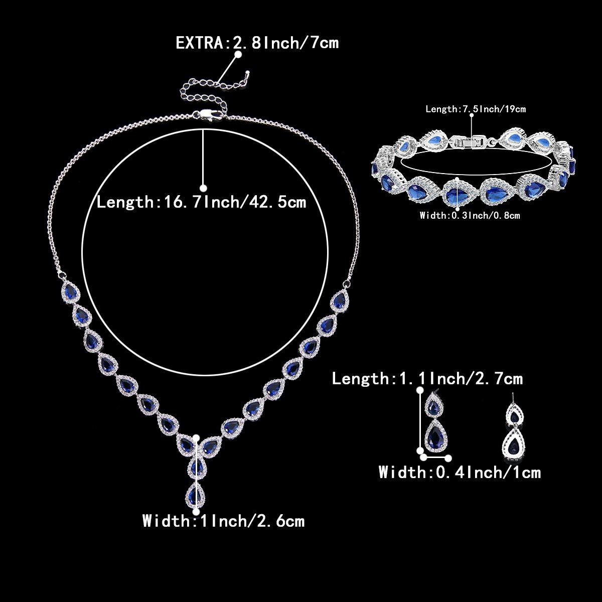 BriLove Women's Wedding Bridal Jewelry Set Y-Necklace Tennis Bracelet Dangle Earrings Set with Teardrop CZ Infinity Figure 8 Sapphire Color Silver-Tone September Birthstone by BriLove (Image #5)