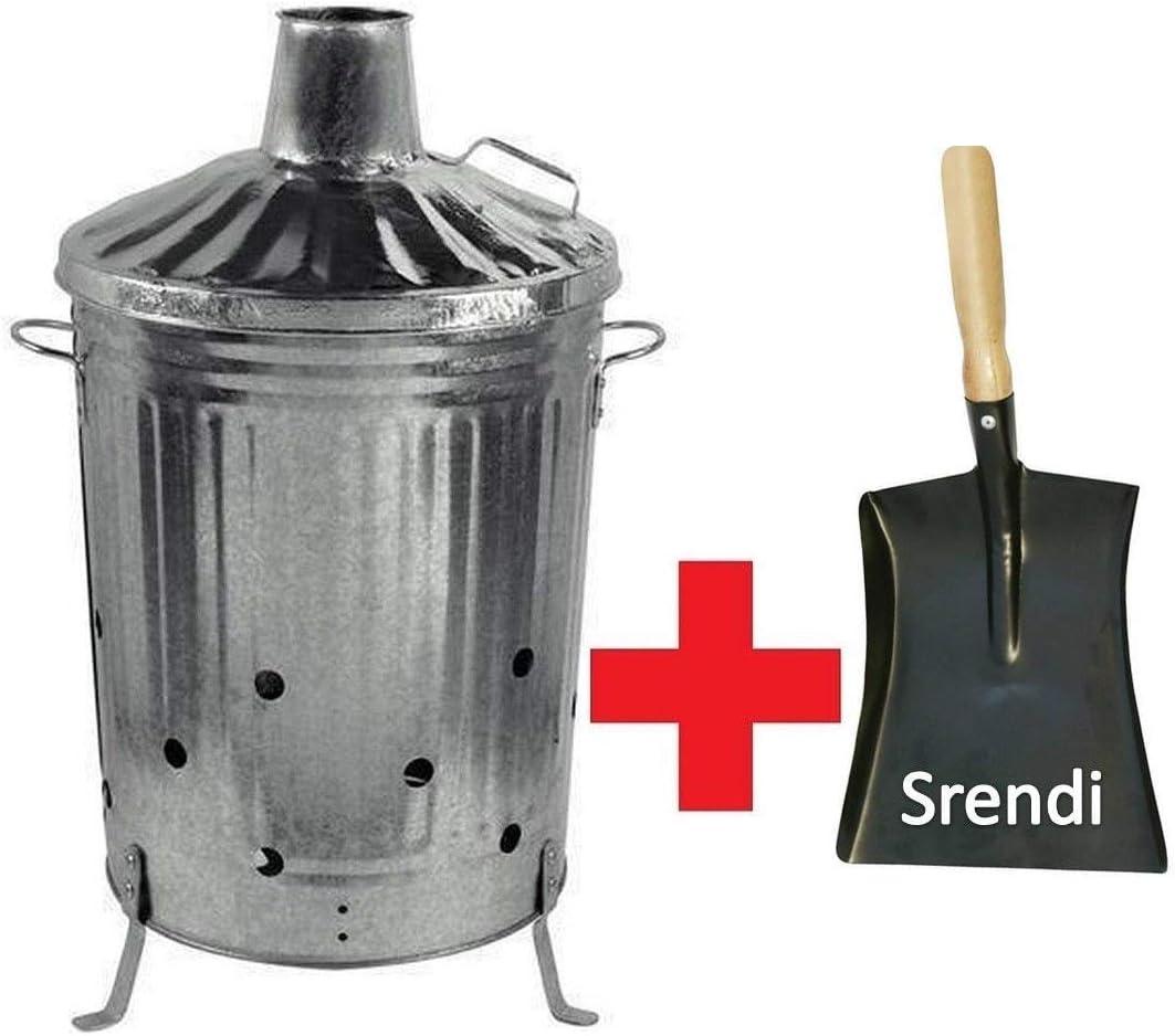 Pequeño Mediano y Grande 15L 60L 90L L Metal galvanizado cubo incinerador de jardín la quema de hojas de papel madera cubo de basura cubo de la basura pala y póquer fabricado