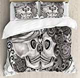 Gothic Decor King Size Duvet Cover Set by Ambesonne, Art Skull With Hat All Saints Day Mexico Culture Festival Floral Illustration, Decorative 3 Piece Bedding Set with 2 Pillow Shams