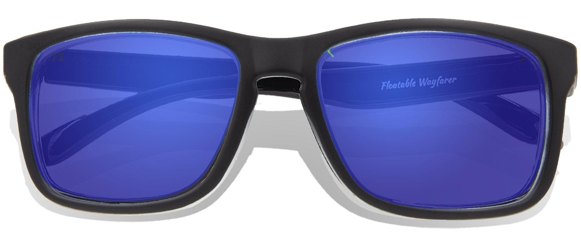 Floating Sunglasses - Polarized Floatable Wayfarer Shades by KZ Gear - 100% UV400 Lenses - KZ Shades that Float - Modern Floatable Style (Matte Black Frame - Full Revo Blue Lens)