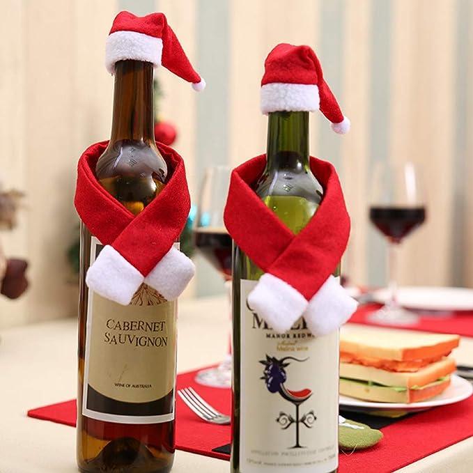 DDG EDMMS 1 Juego de Tapas de Botella de Vino de Navidad Fiesta de Navidad decoración Sombreros y Bufandas Botellas de Vino Decoradas decoración de la Mesa ...