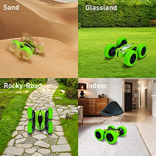 Remote Control Car RC Cars - Drift High Speed Off Road Stunt Truck, 4WD Race Toy with Two Rechargeable Batteries, Cool Birthday Gifts for Boys Age 3 5 6 7 8 9 10 11 Year Old Kids Toys (Green)