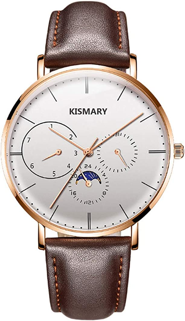 Kismary Fashion Customized Engraved Leather Quartz Watch Stainless Steel Waterproof Watch Customized Gift for Men Women Husband Wife Girlfriend Boyfriend Son Daughter Family