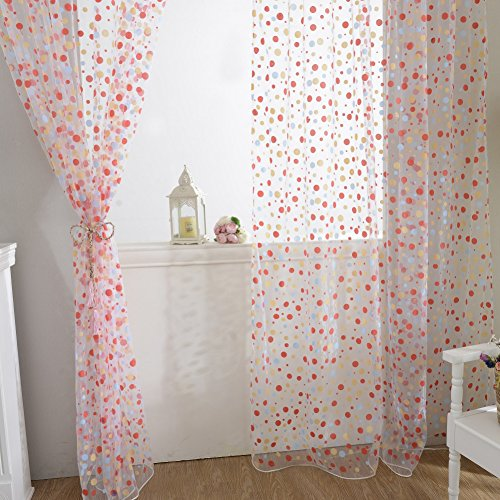 - Edal Polka Dots Drape Panel Sheer Scarf Valance Tulle Voile Door Room Window Curtains Red
